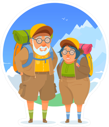 Hiking Elderly People Camping Trip Sticker