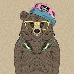 Hip Hop DJ Bear Sticker