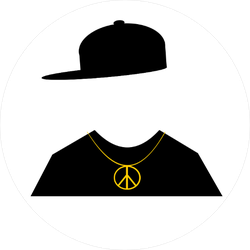 Hip Hop Fashion with Peace Sign Necklace Circle Sticker