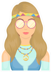 Hippie Chick with Glasses Sticker