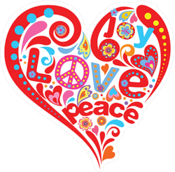 Hippie Heart Peace Sticker