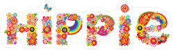 Hippie Lettering with Colorful Flowers Sticker