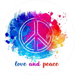 Hippie Love and Peace Colorful Watercolor Sticker