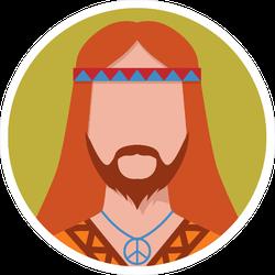 Hippie Male Circle Sticker