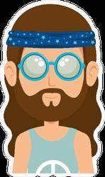 Hippie Man Cartoon Sticker