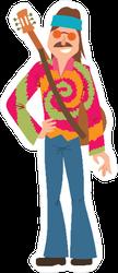 Hippie Man with Guitar Sticker