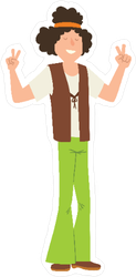 Hippie Man with Headband Cartoon Sticker