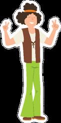 Hippie Man with Headband Cartoon Sticker