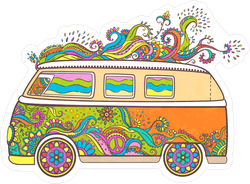 Hippie Mini Van Sticker