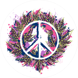 Hippie Peace Sign and Cannabis Leaves Sticker