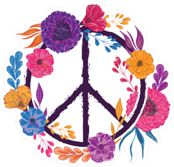 Hippie Peace Symbol With Flowers Sticker