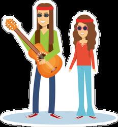 Hippie People With Guitar Sticker