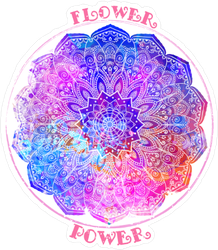 Hippie Style Flower Power Mandala Sticker