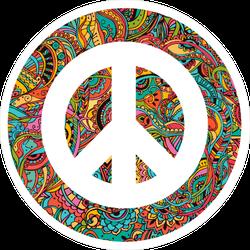Hippie Style Ornamental Watercolor Peace Sign Sticker