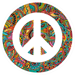 Hippie Style Ornamental Watercolor Peace Sign Sticker