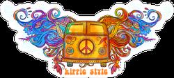 Hippie Van with Psychedelic Wings Sticker