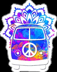 Hippie Vintage Car Mandala Hippie Sticker