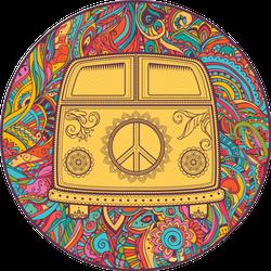 Hippie Vintage Mini Van Circle Sticker