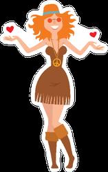 Hippie Woman in Love Sticker