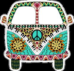 Hippie Zentangle Vintage Van Sticker