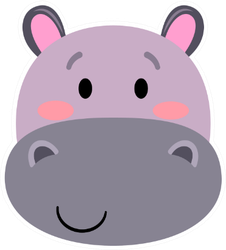 Hippo - Cute Simple Animal Head Sticker