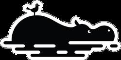 Hippo In Water With Bird Logo Sticker