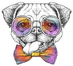 Hipster French Bulldog Sticker