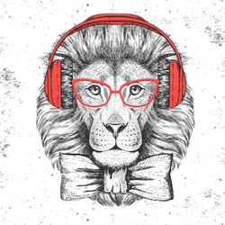 Hipster Lion With Glasses Sticker