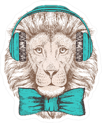 Hipster Lion with Headphones Sticker