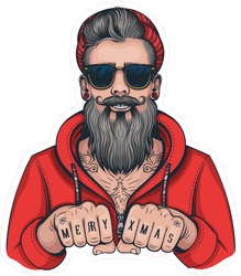 Hipster Tattoo Santa Sticker