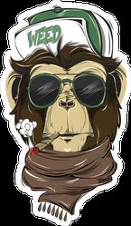 Hipster Weed Smoking Monkey Sticker