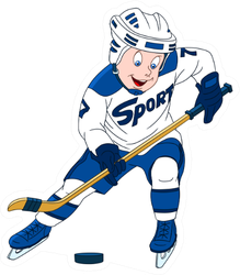 Hockey Player Cartoon Character Isolated On White Sticker
