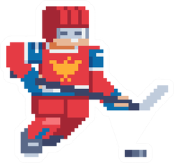 Hockey Player Character Pixel Art Design Sticker