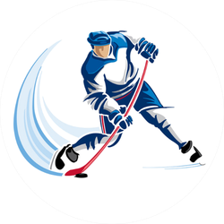 Hockey Player Illustration With Blue Swoosh Sticker