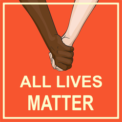 Holding Hands All Lives Matter Square Sticker