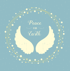 Holiday Angel Wings And Christmas Wreath Sticker