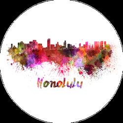 Honolulu Skyline In Watercolor Sticker