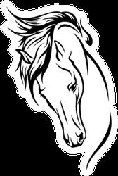 Horse Head With Flying Mane Illustration Sticker