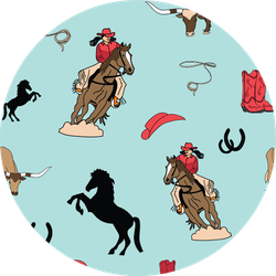 Horses And Cowgirls Pattern Sticker