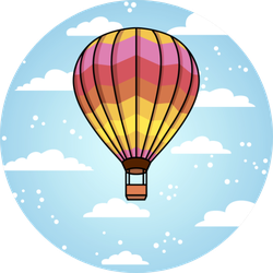 Hot Air Ballon Cloud Background Sticker