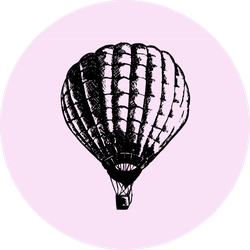 Hot Air Balloon Doodle Style On Pink Sticker