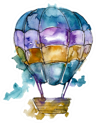 Hot Air Balloon Illustration Watercolor Sticker