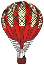 Hot Air Balloon Vintage Sticker