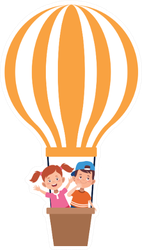 Hot Air Balloon With Boy And Girl Sticker