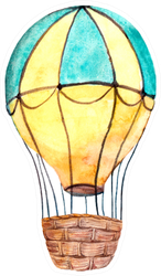 Hot Air Balloon Yellow Watercolor Sticker