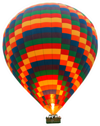 Hot Air Striped Balloon Isolated On White Sticker