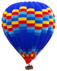 Hot Air Striped Blue Balloon Sticker