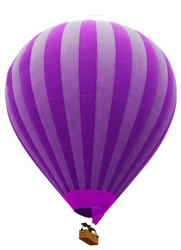 Hot Air Striped Violet Balloon Sticker