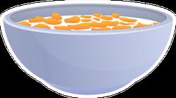 Hot Milk Cereal Bowl Icon Sticker
