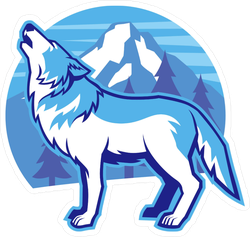 Howling Wolf and Mountain Sticker